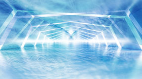 Abstract blue cloudy shining surreal tunnel interior Stock Photos