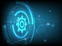 Abstract blue cog gear Circle digital technology background, futuristic structure elements concept background Stock Photo