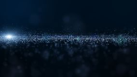 Abstract blue color digital particles wave with dust and light background stock illustration