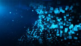 Abstract blue color digital particles wave with dust and numbers background stock illustration