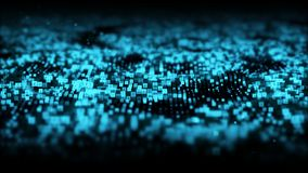 Abstract blue color digital particles wave with dust and numbers background royalty free illustration