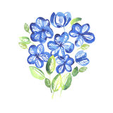Abstract blue color floral elements. Royalty Free Stock Photos