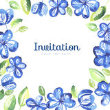 Abstract blue color floral frame. Stock Photos