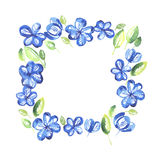 Abstract blue color floral frame. Stock Photography