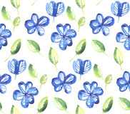 Abstract blue color floral seamless pattern. Stock Images
