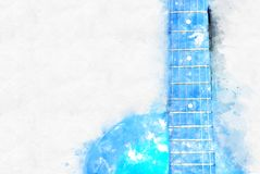 Abstract blue color shape on Acoustic Guitar in the foreground Watercolor painting background. Abstract blue color shape on Acoustic Guitar in the foreground royalty free illustration