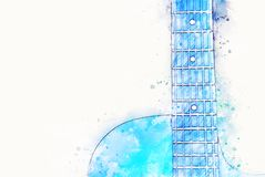 Abstract blue color shape on Acoustic Guitar in the foreground Watercolor painting background stock illustration