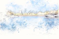 Abstract blue color shape on speed boat in the ocean on watercolor illustration painting. Background stock photography