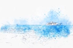 Abstract blue color shape on speed boat in the ocean on watercolor illustration painting. Background royalty free stock photos