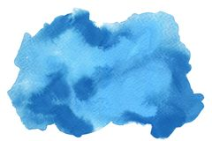 Abstract blue color watercolor gouache on white background royalty free stock images