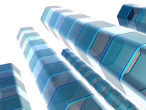 Abstract blue columns. Abstract, three-dimensional columns or pillars appearing to be semi-transparent and blue Royalty Free Stock Photo