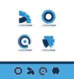 Abstract blue company logo icon. Vector company logo icon element template abstract blue gradient circle shield Royalty Free Stock Photo