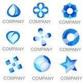 Abstract Blue Company Logo Set Icons Stockfotos