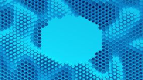 Abstract blue crystallized background. Honeycombs move like an ocean. With place for text or logo. Abstract blue crystallized background. Honeycombs move like royalty free illustration