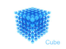 Abstract blue cube. Structure on white background Royalty Free Stock Photography