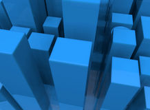 Abstract blue cube city Stock Photography