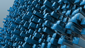 Abstract blue cubes background. 3D render Stock Photo