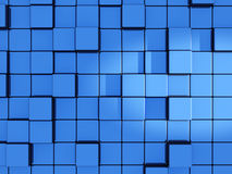 Abstract blue cubes background. 3d render Royalty Free Stock Photo