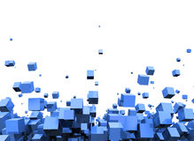 Abstract blue cubes background. Abstract background of blue cubes or squares falling on white background Stock Illustration