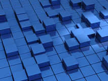 Abstract blue cubes background - 3d Royalty Free Stock Photos