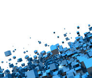 Abstract blue cubes. Abstract background of blue cubes flying through air with white background and copy space Stock Image