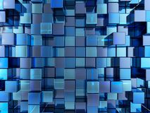 Abstract blue cubes background. Abstract background formed from blue cubes. 3D illustration Royalty Free Stock Photo