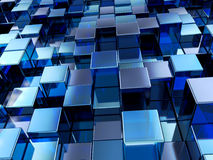 Abstract blue cubes background. Abstract background formed from blue cubes. 3D illustration Royalty Free Stock Image