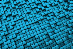 Abstract Blue Cubes Background - Long Distance Royalty Free Stock Image