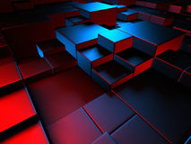Abstract blue cubes background wallpaper. 3d Render Illustration Stock Photos