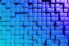 Abstract blue cubes 3d background Stock Photography