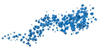 Abstract blue cubes flow Royalty Free Stock Photography