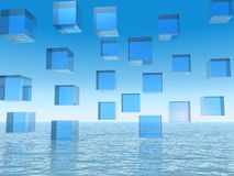 Abstract Blue Cubes over Water. Abstract  Conceptual Business departments as Blue Cubes over Water Stock Image