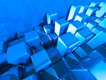 Abstract Blue Cubes Shiny Background. 3d Render Illustration Stock Photos