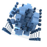 Abstract blue cubic background Stock Photos