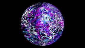 Abstract blue cyan pink white particles balls random flying in sphere and rotate slow