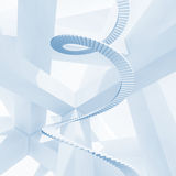 Abstract blue 3d background. With spiral stairs Stock Photos
