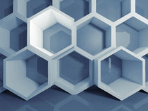 Abstract blue 3 d honeycomb digital structure Royalty Free Stock Photos