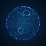 Abstract blue 3D sphere shape made of particles. Abstract blue 3D sphere shape made of glowing particles vector illustration Royalty Free Stock Photography