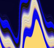 Abstract blue dark lines background, colors, shades abstract graphics. Abstract background and texture. Abstract fluid blue yellow dark background, lights and stock illustration