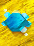 Abstract Blue Diamond on yellow hexagon Background Stock Photography