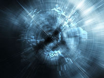 Abstract blue digital background, blurred tunnel 3d Stock Photography