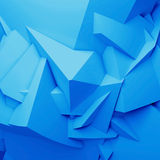 Abstract blue digital 3d chaotic polygonal surface. Square background texture Royalty Free Stock Photography