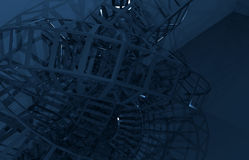 Abstract blue digital graphic background, 3d art. Abstract blue digital graphic background, wire-frame structure in the dark. 3d render illustration Stock Photography