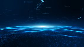 Free Abstract Blue Digital Particles Wave And Digital Data Network Connections For A Technology, Communication Or Social Media Royalty Free Stock Photography - 156892407