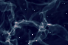 Abstract blue digital smoke slowly floating through space with particles Stock Image