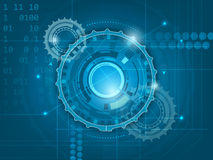Abstract blue digital technology background with gears Royalty Free Stock Image