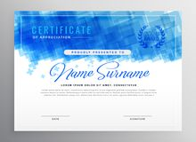 Abstract blue diploma certificate design. Illustration royalty free illustration
