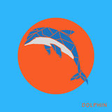 Abstract blue dolphin polygon template on a orange background. Stock Image