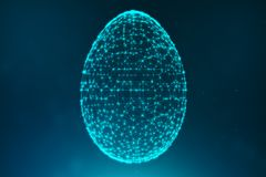 Free Abstract Blue Easter Eggs Consisting Of Blue Lines And Glowing Neon Dots. Abstract Egg Triangle Shape. Happy Easter Egg Stock Images - 143062554