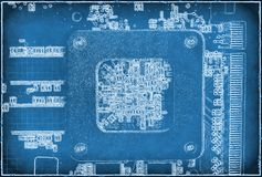Abstract blue electronic background. With circuit board stock illustration